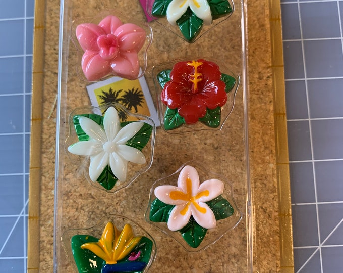 Tropical Flowers - Push Pin Set - Corkboard - Bulletin Board