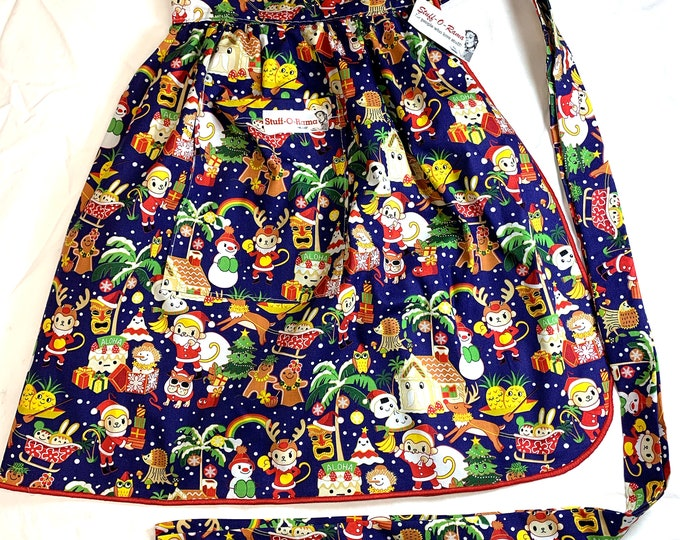 Kawaii Hawaiian Tiki Christmas - Half Apron - Vintage Pin Up Skirt Style