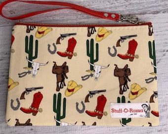 Western Desert Cowboy - Clutch Wallet Wristlet