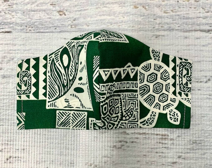 Tapa Cloth - Green Honu Sea Turtle - Face Mask Coverings - 100% Cotton - Washable With Filter Pockets - Nose Wire - Ties or Elastic