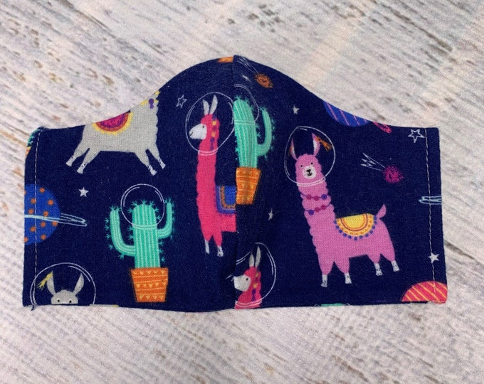 FLANNEL Face Mask Coverings - Llamas In Space - 100% Cotton - Washable With Filter Pockets - Nose Wire - Ties or Elastic