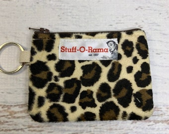 Leopard Cheetah Print - Faux Fur - Coin Purse - Keychain - Wallet - Key Fob - Key Ring
