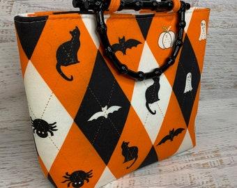 Everyday Is Halloween - Canvas Tote Bag - Purse - Handbag - Retro - Crossbody - Vintage Style - Argyle - Bat - Black Cat - Spider - Pumpkin