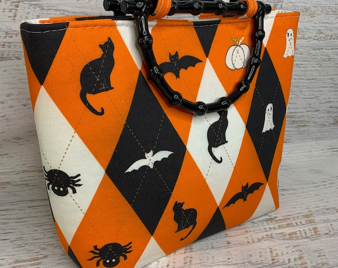 Everyday Is Halloween - Canvas Tote Bag Purse Handbag - Retro Vintage Style - Argyle - Bat - Black Cat - Spider - Ghost - Pumpkin
