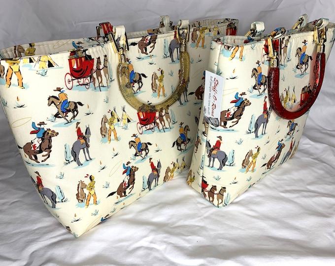 Tote Bag Purse Handbag - Retro Vintage Cowboy and Indians