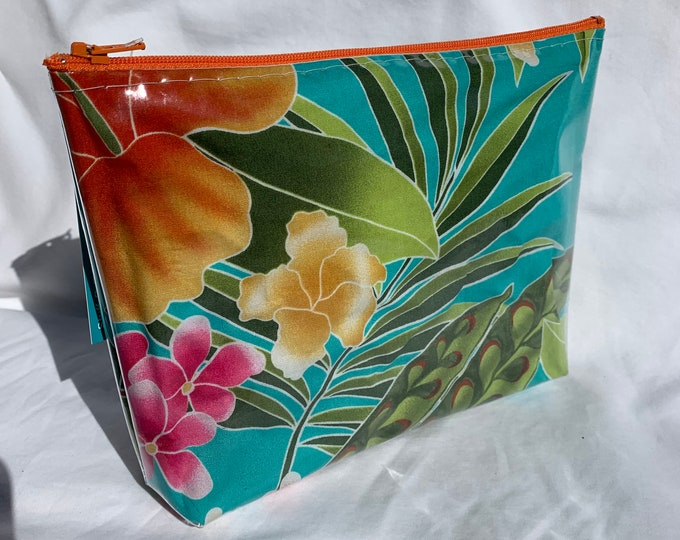 Tropical Flowers - Turquoise - Makeup Bag - Hawaiian Aloha Print