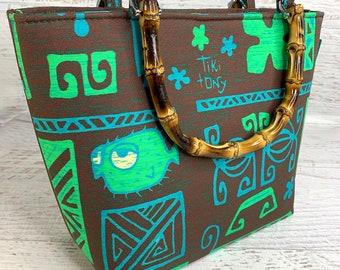 Tiki Tony - Tapa Brown - Tote Bag - Purse - Crossbody Option - Handbag - Tiki - Hawaiian - Aloha Print - Canvas