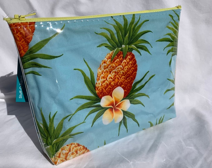 Pineapples and Plumerias Makeup Bag - Hawaiian Aloha Print