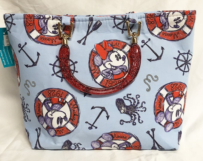 Handbag - Nautical Mickey and Minnie Mouse