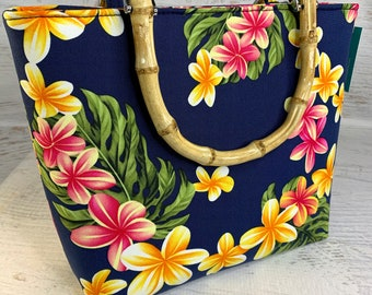 Navy - Plumeria Frangipani - Hawaiian Print - Tote Bag - Purse - Handbag - Crossbody - Canvas - Tiki - MCM - Tropical