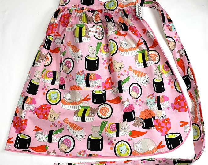 Half Apron - Vintage Pin Up Skirt Style - Sushi Cats
