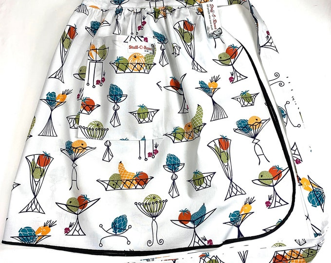 Fruit and Vegetable Bowl - Half Apron - Vintage Pin Up Skirt Style