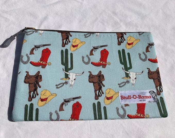 Zipper Pouch Clutch Purse - Retro Vintage Cowboy and Western Desert