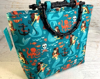 Retro Rockabilly Sirens - Tote Bag - Purse - Handbag - Crossbody - Canvas - Tiki - MCM - Mermaids - Pirate - Octopus - Kraken