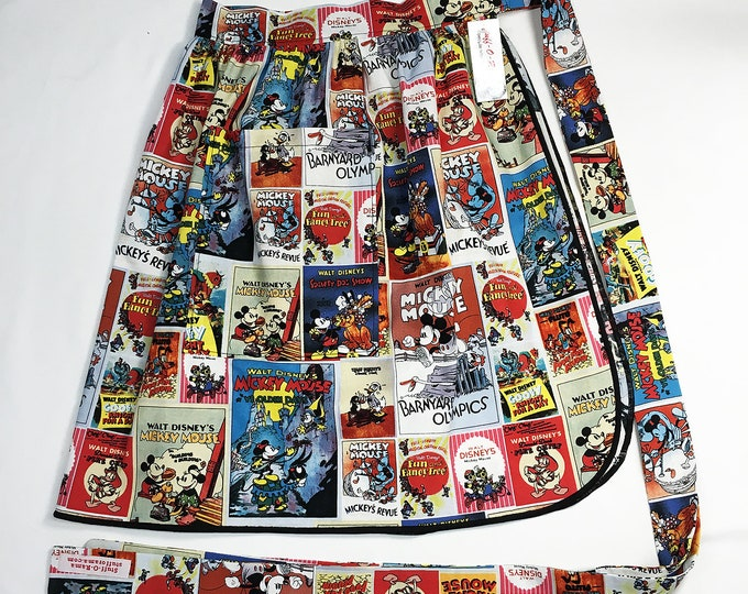 Half Apron - Vintage Pin Up Skirt Style - Mickey Mouse Cartoons