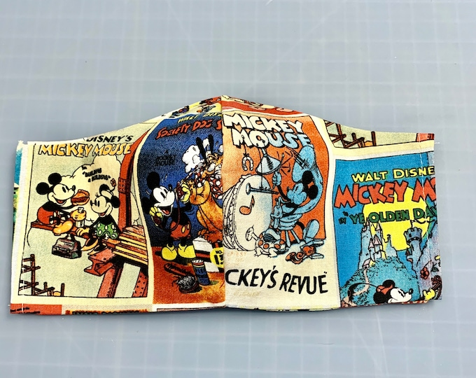 Mickey Mouse Cartoon Posters - Face Masks - 100% Cotton - Washable With Filter Pockets - Nose Wire - Ties or Elastic