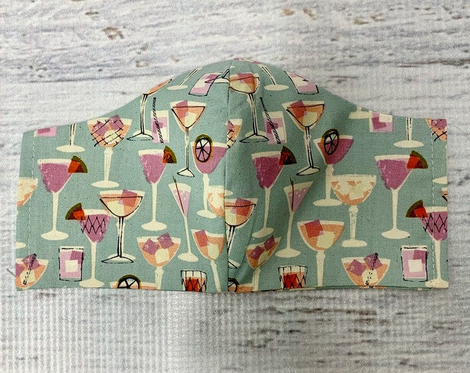 Blue Summer Cocktails and Tiki Drinks - Face Mask Coverings - 100% Cotton - Washable With Filter Pockets - Nose Wire - Ties or Elastic