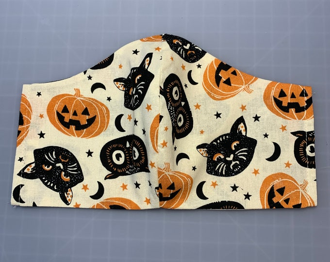 Vintage Halloween - Face Mask Coverings - 100% Cotton - Washable With Filter Pockets - Nose Wire - Ties or Elastic