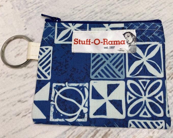Blue Tapa Cloth - Cotton Canvas - Coin Purse - Keychain - Wallet - Key Fob - Key Ring - Aloha Print - Hawaiian Print