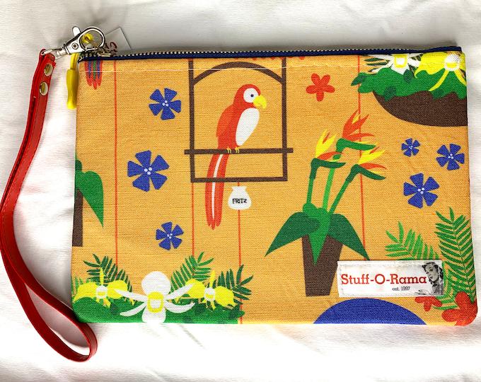 Wristlet Zipper Pouch Clutch Purse - Tiki Room Birds
