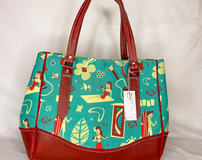 Vinyl Shoulder Bag - Vintage Hawaiian Village Canvas Print by Dapper Dino
