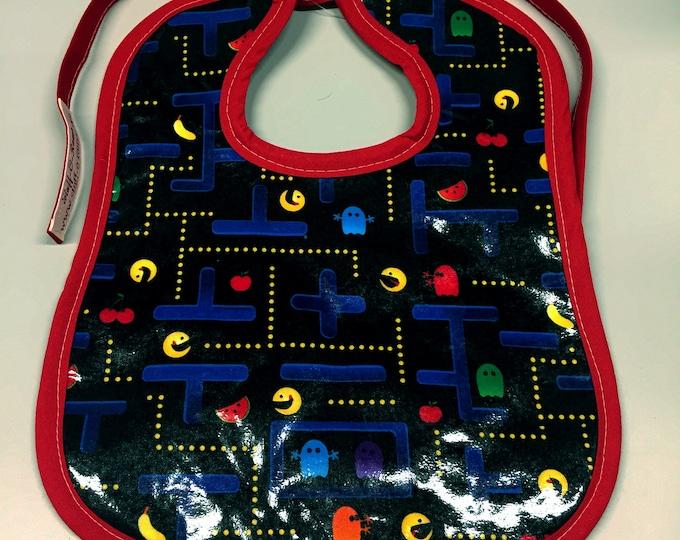 Wipeable Baby Bibs - Pacman Video Game 80s