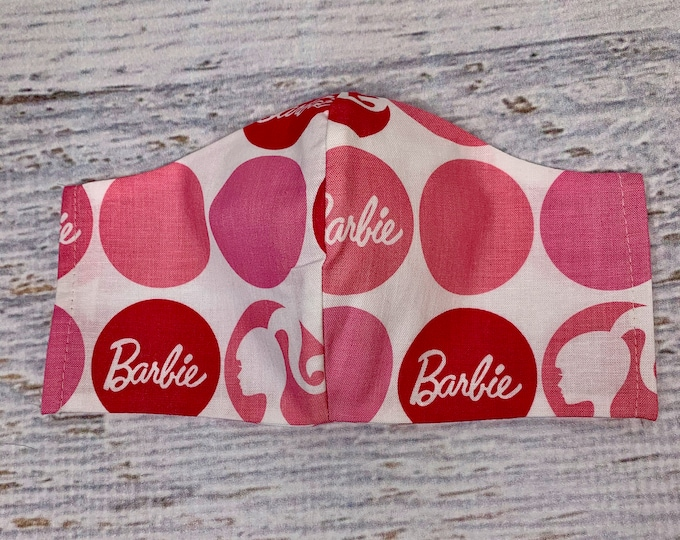 Barbie Dots - Face Mask Coverings - 100% Cotton - Washable With Filter Pockets - Nose Wire - Ties or Elastic