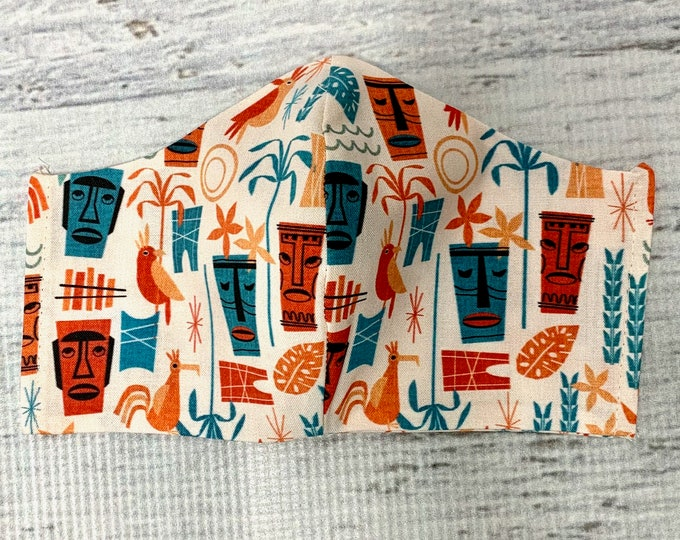 Tropical Tiki - Face Mask Coverings - 100% Cotton - Washable With Filter Pockets - Nose Wire - Ties or Elastic