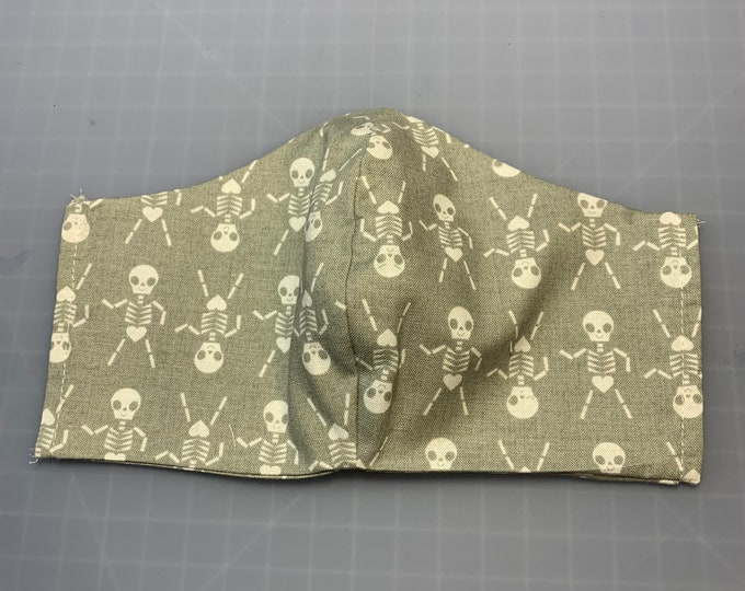 Skeleton Dance - Halloween - Face Mask Coverings - 100% Cotton - Washable With Filter Pockets - Nose Wire - Ties or Elastic