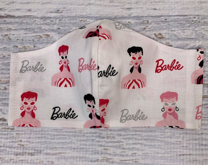 1950s Barbie - Face Mask Coverings - 100% Cotton - Washable With Filter Pockets - Nose Wire - Ties or Elastic