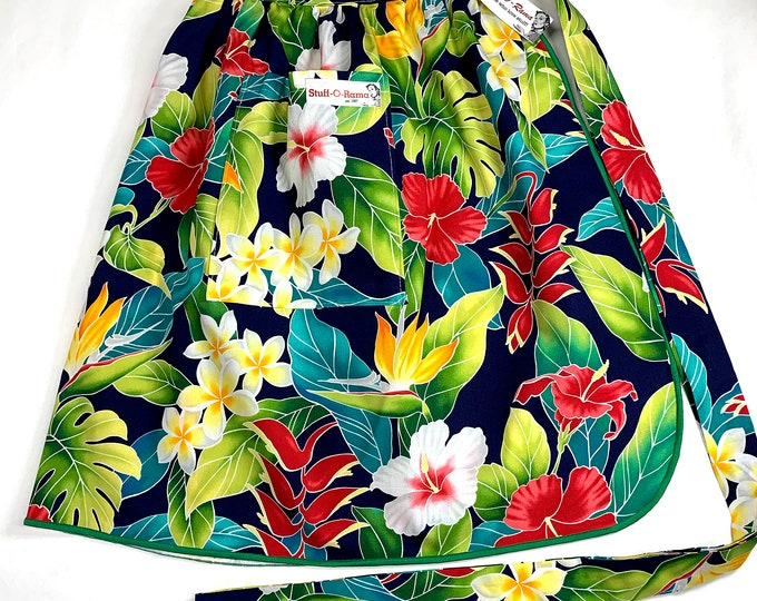 Tropical Flowers - Navy Blue Hibiscus Heliconia - Half Apron - Vintage Pin Up Skirt Style