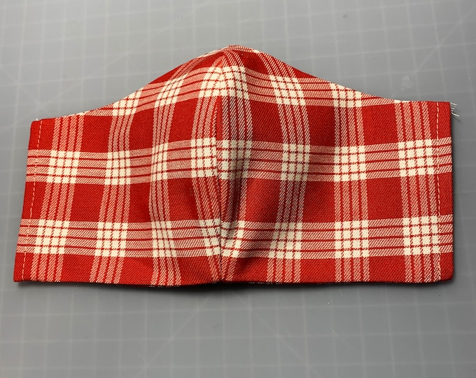 Red Gingham - Plaid - Palaka - Face Masks - 100% Cotton - Washable With Filter Pockets - Nose Wire - Ties or Elastic