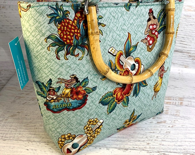 Traditional Tattoo Hawaiian Style - Barkcloth - Tote Bag - Purse - Handbag - Crossbody - Canvas - Tiki - MCM - Aloha Print