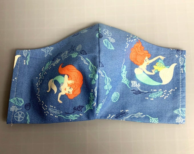 Ariel & Flounder - Little Mermaid - Face Mask Coverings - 100% Cotton - Washable With Filter Pockets - Nose Wire - Ties or Elastic