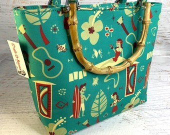 Hawaiian Village - Tote Bag - Purse - Handbag - Crossbody - Canvas - Tiki - MCM - Aloha Print - Dapper Dino