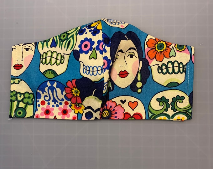Gotas de Amor - Face Mask Coverings - Day of the Dead - Halloween - 100% Cotton - Washable With Filter Pockets - Nose Wire - Ties or Elastic