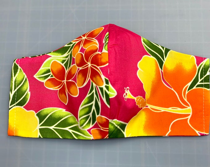 Hot Pink Magenta Aloha Hawaiian Print - Face Masks - 100% Cotton - Washable With Filter Pockets  - Nose Wire - Ties or Elastic
