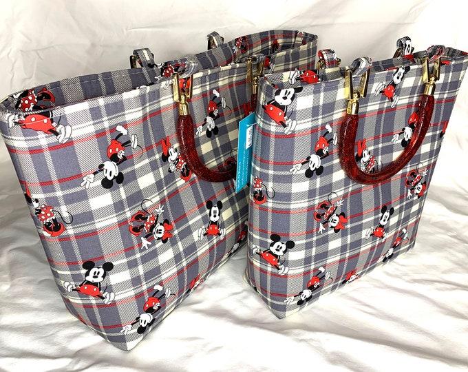 Tote Bag Purse Handbag - Mickey Mouse and Minnie Mouse Tartan Plaid