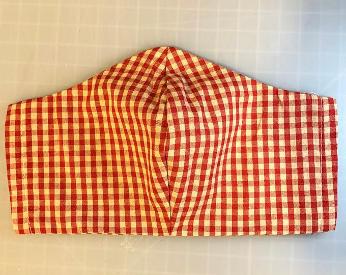 Red Gingham - Face Masks - 100% Cotton - Washable With Filter Pockets - Nose Wire
