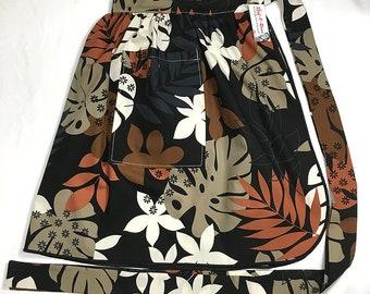 Half Apron - Vintage Pin Up Skirt Style - Hawaiian Autumn
