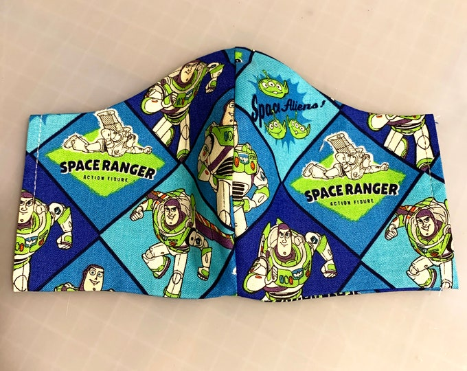 Space Ranger- Buzz Lightyear Toy Story - Face Mask Coverings - 100% Cotton - Washable With Filter Pockets - Nose Wire - Ties or Elastic