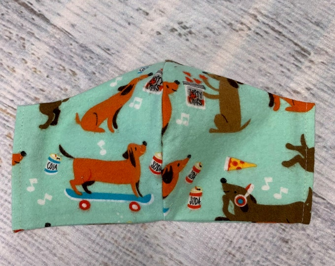 FLANNEL Face Mask Coverings - Wiener Dogs - 100% Cotton - Washable With Filter Pockets - Nose Wire - Ties or Elastic