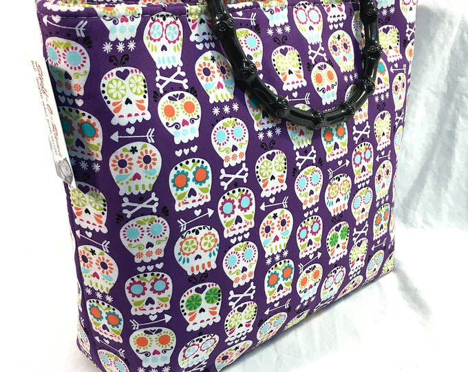 Handbag - Sugar Skulls purple