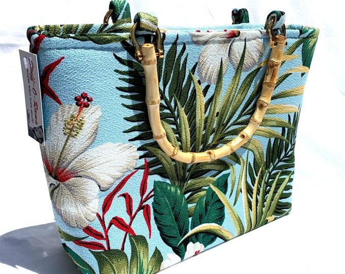 Handbag - Blue Hibiscus Garden Sky Kahala Barkcloth