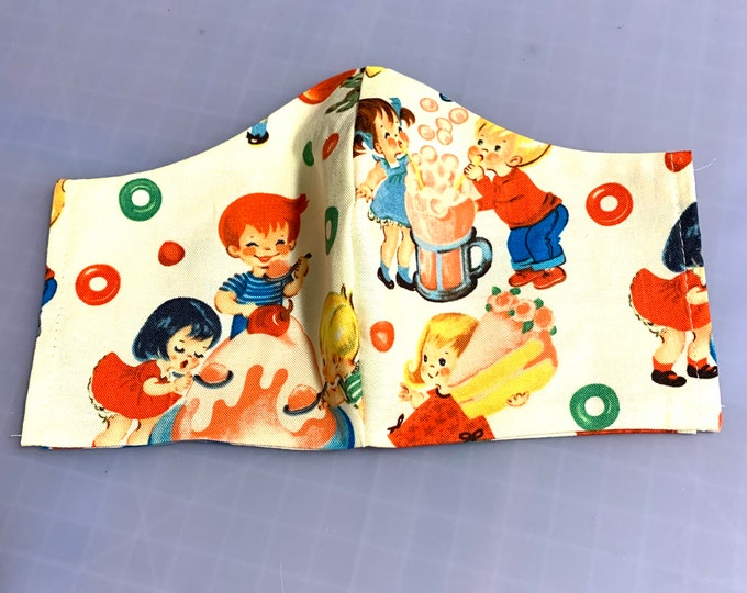 Retro Candy Shop Kids - Face Mask Coverings - 100% Cotton - Washable With Filter Pockets - Nose Wire - Ties or Elastic