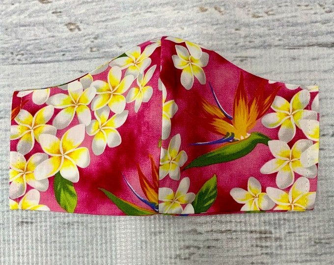 Pink Plumeria Frangipani Bird of Paradise  - Face Masks - 100% Cotton - Washable With Filter Pockets - Nose Wire - Ties or Elastic