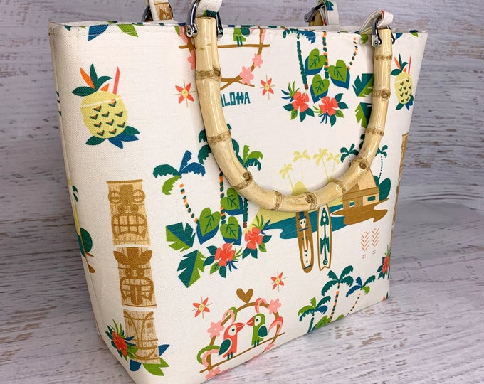 Mid Century Tiki Resort - Tote Bag - Purse - Crossbody Option - Handbag - Tiki - Hawaiian - Aloha Print