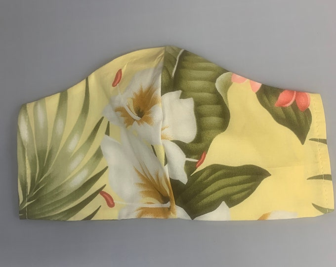Yellow Tropical Print - Face Masks - 100% Cotton - Washable With Filter Pockets - Nose Wire