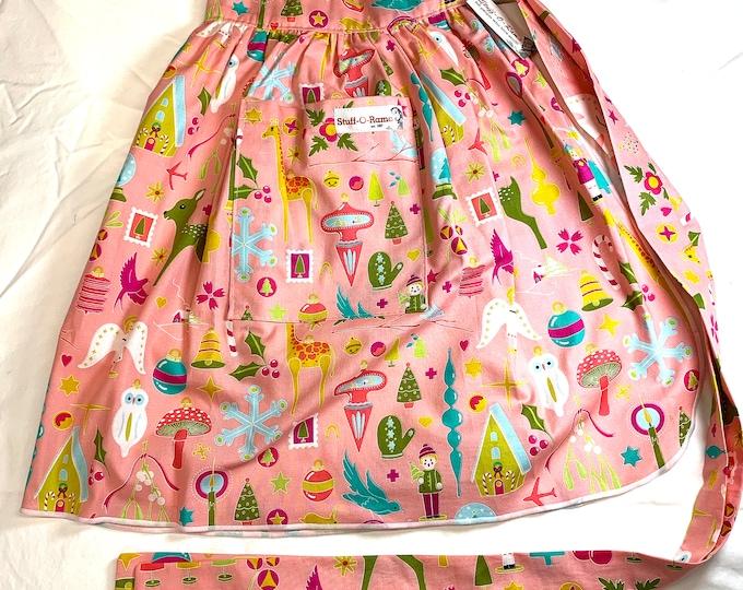 Half Apron - Vintage Pin Up Skirt Style - Retro Vintage Christmas Ornaments - Pink