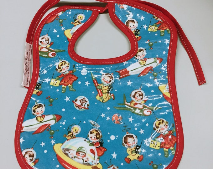 Wipeable Baby Bibs - Retro Spaceman